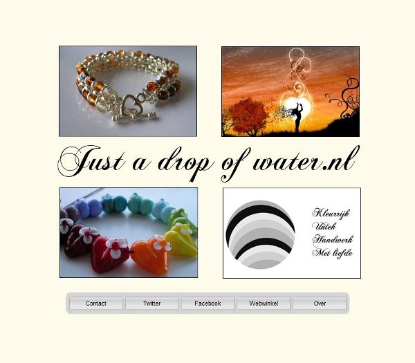 Just a drop of water. Website van eenmanszaak in handgemaakte glaskralen en sieraden. Kleurrijk, uniek, handgemaakt (handwerk), met liefde