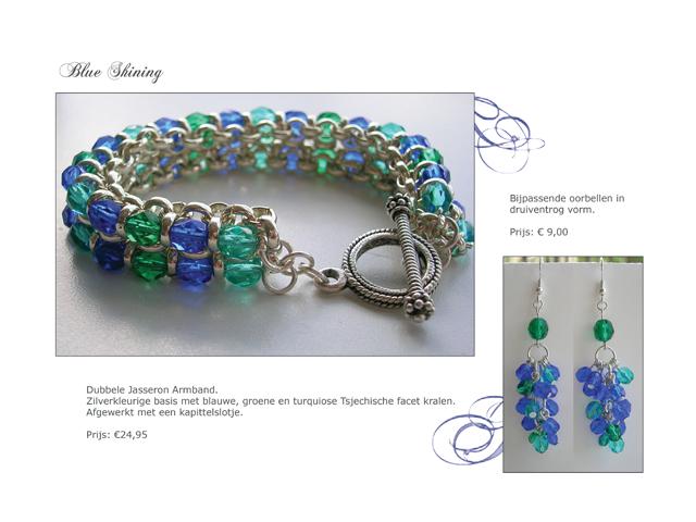Dubbele Jasseron Armband. Zilverkleurige basis met blauwe, groene en turquiose Tjechische facet kralen. Afgewerkt met kapittelslotje. Bijpassende oorbellen in druiventros vorm.