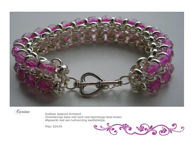 Bubbele Jasseron Armband. Zilverkleurige basis met hard roze tsjechische facet kralen. Afgewerkt met een hartvormig kapittelslotje.